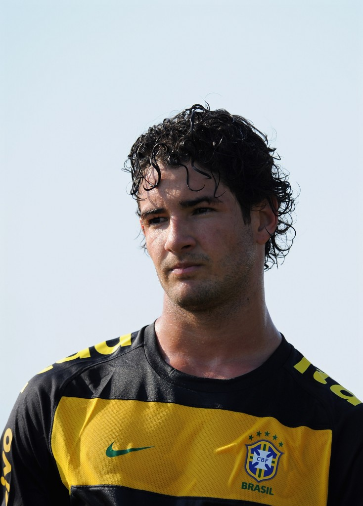 BARCELONA, SPAIN - SEPTEMBER 03: Alexandre Pato (L) of Brazil watches on during a training session at the Joan Gamper training ground on September 3, 2010 in Barcelona, Spain. (Photo by Jasper Juinen/Getty Images)