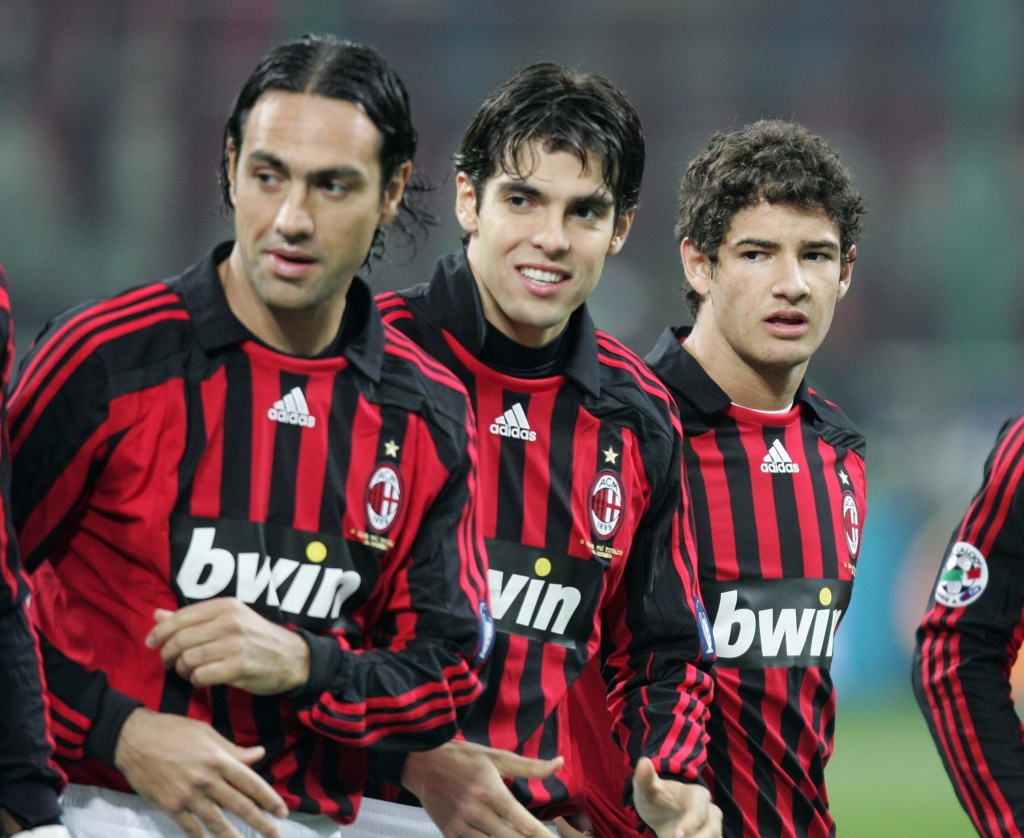 MILAN, ITALY - JANUARY 13: Nesta, Kaka and Pato of Milan line up during the Serie A match between AC Milan and Napoli at the San Siro on January 13, 2008 in Milan Italy. (Photo by Newpress/Getty Images)