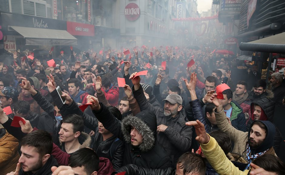 Trabzonspor fans stage a protest in Trabzon in the wake of their seven-man team's defeat to Galatasaray on Sunday. Photograph- Anadolu Agency:Getty Images