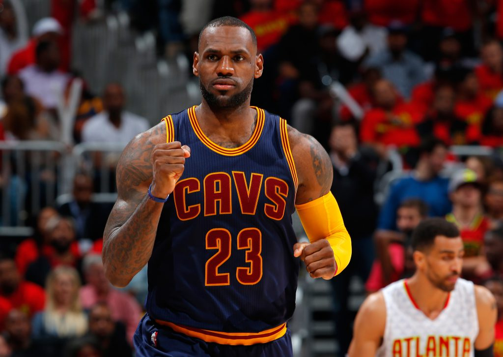 ATLANTA, GA - MAY 06: LeBron James #23 of the Cleveland Cavaliers reacts after hitting a basket against the Atlanta Hawks in Game Three of the Eastern Conference Semifinals during the 2016 NBA Playoffs at Philips Arena on May 6, 2016 in Atlanta, Georgia. NOTE TO USER User expressly acknowledges and agrees that, by downloading and or using this photograph, user is consenting to the terms and conditions of the Getty Images License Agreement. (Photo by Kevin C. Cox/Getty Images)