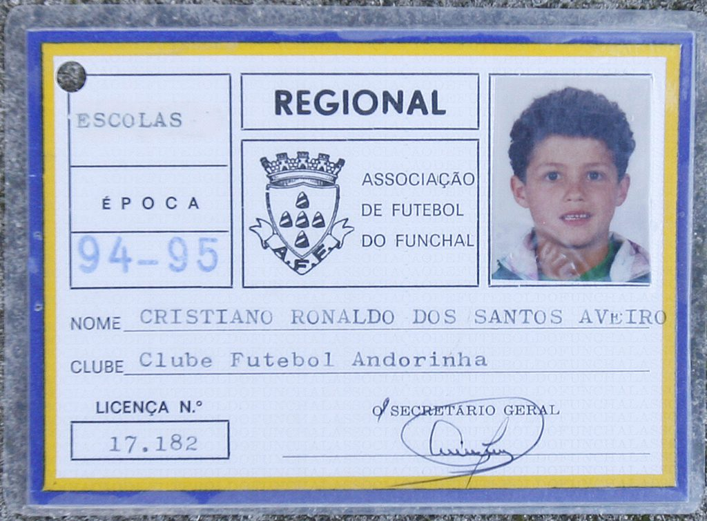 This picture taken on November 16, 2008 shows the ID card of local football association in Funchal of Portuguese footballer Cristiano Ronaldo provided by Andorinha local Football Club on June 26, 2009 when the Portuguese footballer was playing in Andorinha club in 1994-1995. Real Madrid have officially signed Cristiano Ronaldo on a six-year deal, the Spanish giants announced on June 26, 2009 and will officially become a Real Madrid player on July 1. AFP PHOTO/ GREGORIO CUNHA (Photo credit should read GREGORIO CUNHA/AFP/Getty Images)