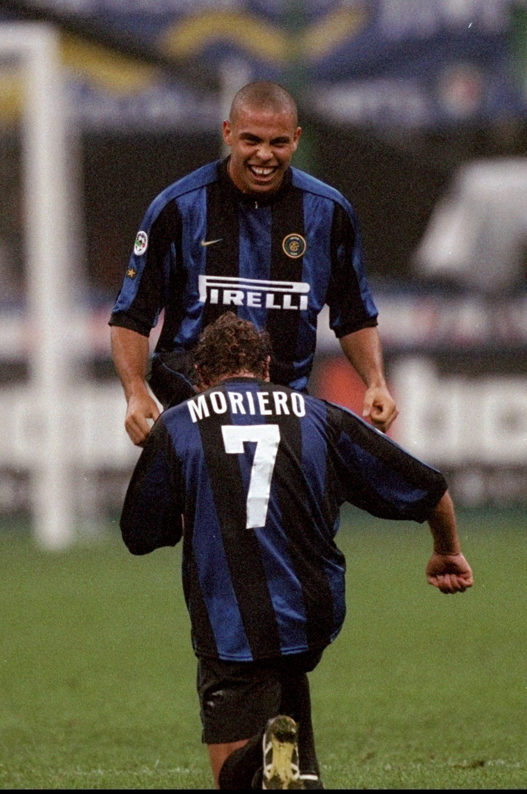 2 Oct 1999: Ronaldo of Inter Milan celebrates his goal with team mate Francesco Moriero during the Serie Match against Piacenza at the San Siro Stadium in Milan, Italy. Inter won 2-1. Mandatory Credit: Claudio Villa /Allsport