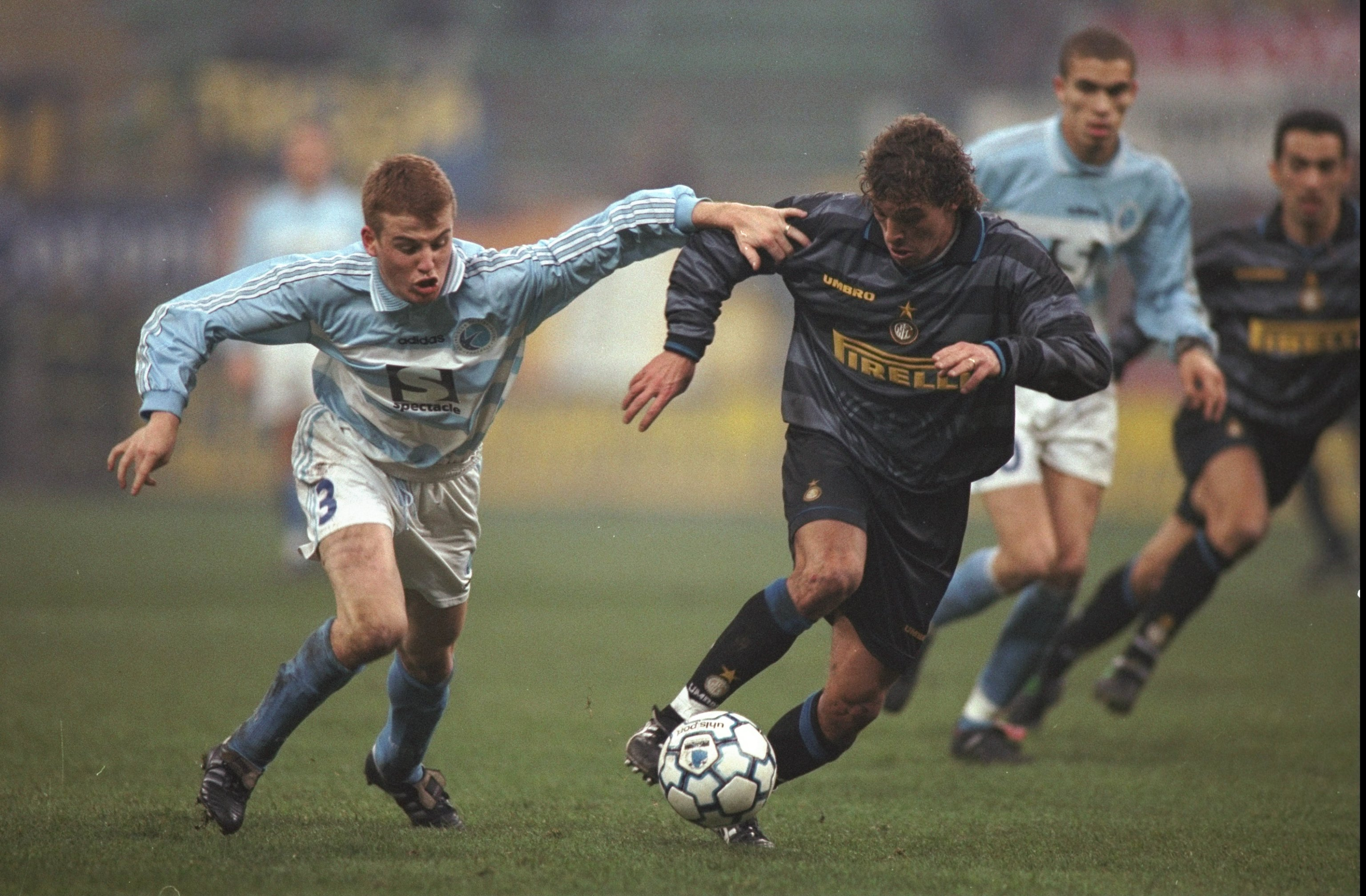 8 Dec 1997: Francesco Moriero of Inter Milan goes past Yannick Rott of Strasbourg during the UEFA Cup third round second leg match at the Giuseppe Meazza Stadium in Milan, Italy. Inter won 3-0. Mandatory Credit: Shaun Botterill /Allsport