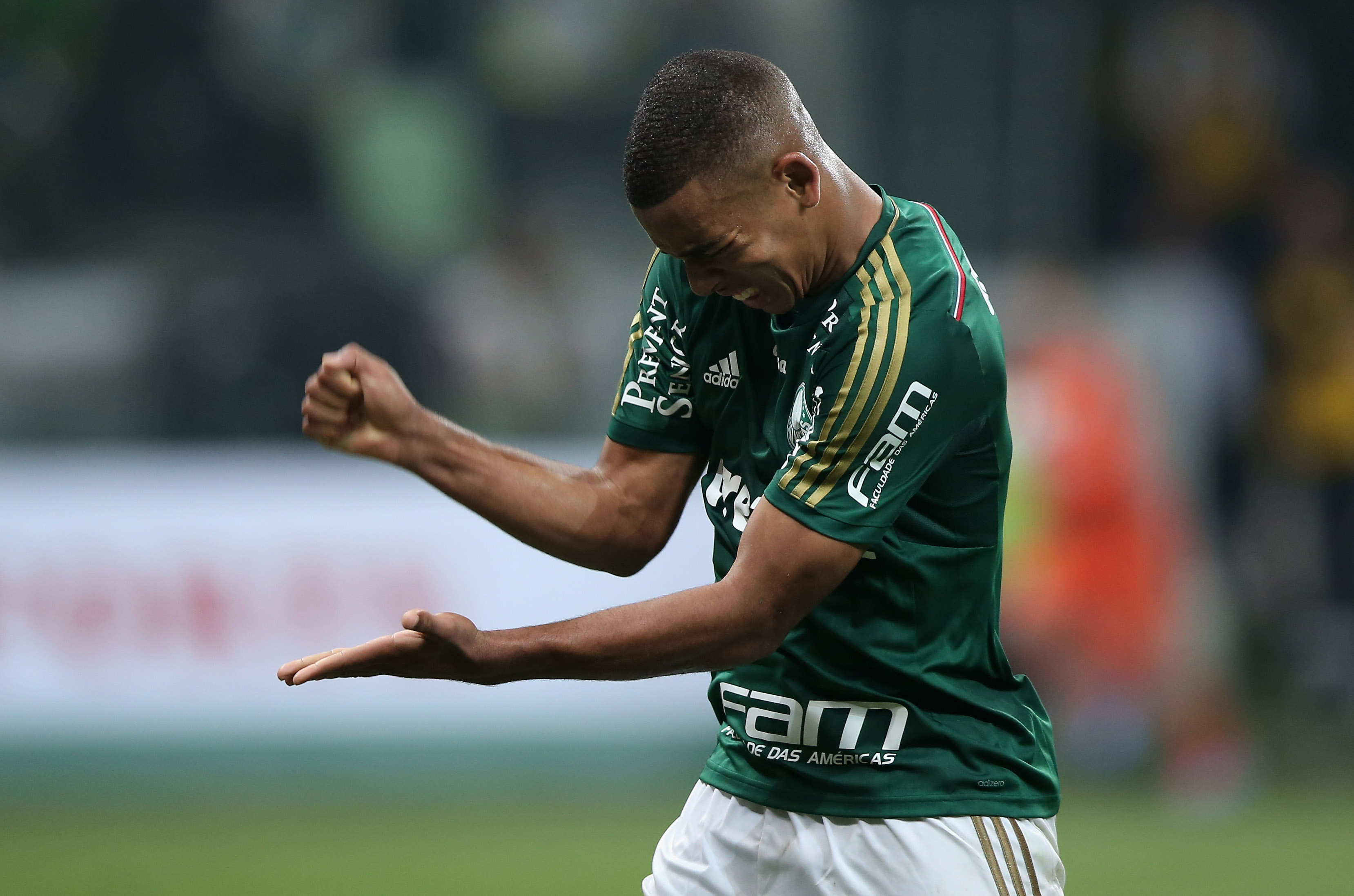 SAO PAULO, BRAZIL - MAY 09: Gabriel Jesus of Palmeiras reacts during the match between Palmeiras and Atletico MG for the Brazilian Series A 2015 at Allianz Parque on May 9, 2015 in Sao Paulo, Brazil. (Photo by Friedemann Vogel/Getty Images)