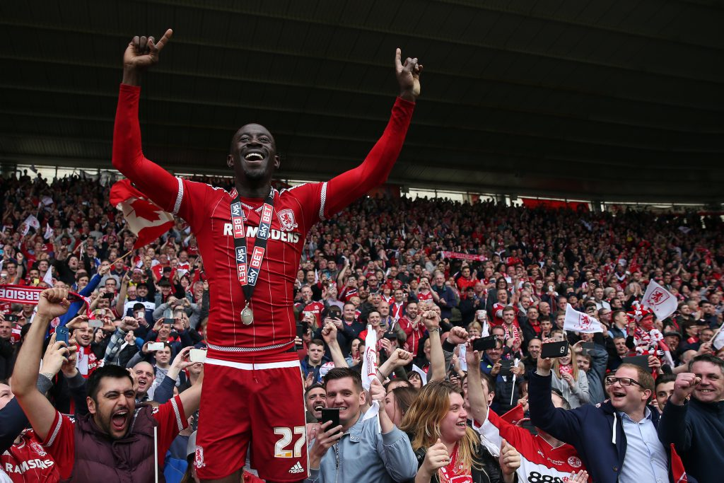 MIDDLESBROUGH, ENGLAND - MAY 07: Albert Adomah of Middlesbrough celebrates following the Sky Bet Championship match between Middlesbrough and Brighton and Hove Albion at the Riverside Stadium on May 7, 2016 in Middlesbrough, England. (Photo by Chris Brunskill/Getty Images)