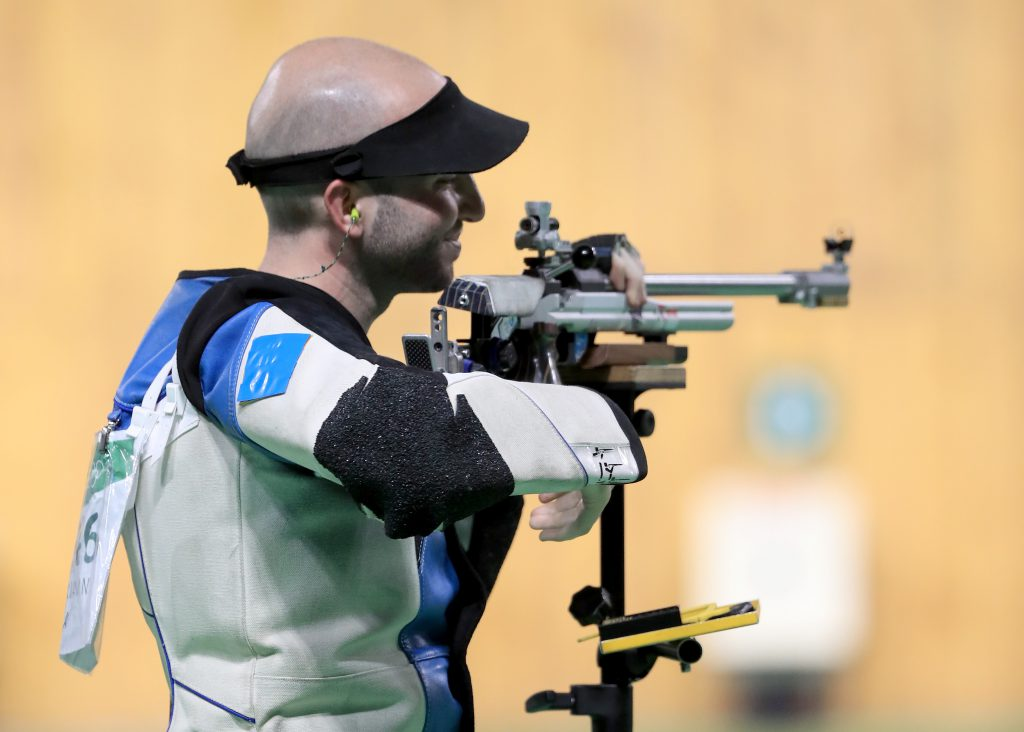 RIO DE JANEIRO, BRAZIL - AUGUST 14:  Niccolo Campriani of Italy reacts to winning the gold medal in the 50m rifle three position event on Day 9 of the Rio 2016 Olympic Games at the Olympic Shooting Centre on August 14, 2016 in Rio de Janeiro, Brazil.  (Photo by Sam Greenwood/Getty Images)