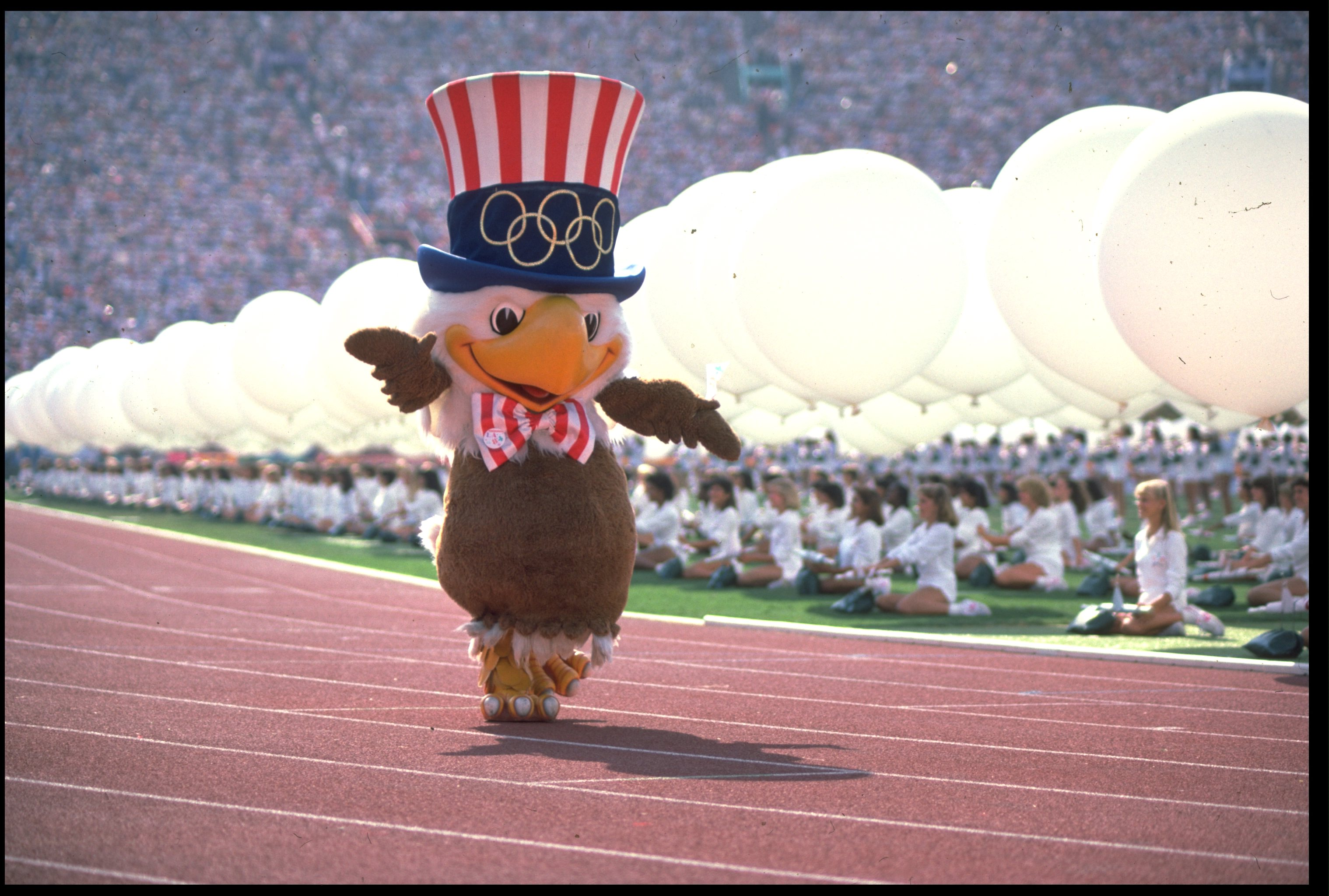 28 JUL 1984:  SAM THE EAGLE THE MASCOT OF THE 1984 LOS ANGELES OLYMPICS MARCHES AROUND THE STADIUM DURING THE OPENING CEREMONY.