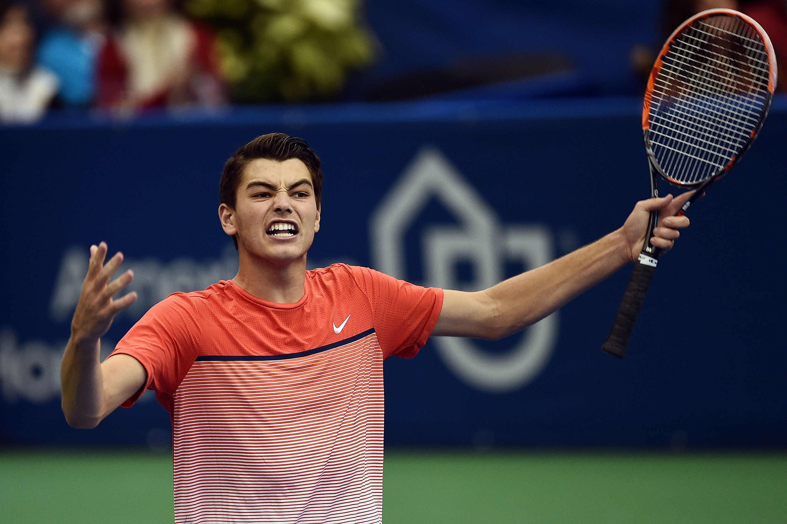 MEMPHIS, TN - FEBRUARY 13: Taylor Fritz of the United States reacts to a victory over Ricardas Berankis of Lithuania in their semi-final singles match on Day 6 of the Memphis Openat the Racquet Club of Memphis on February 13, 2016 in Memphis, Tennessee. (Photo by Stacy Revere/Getty Images)