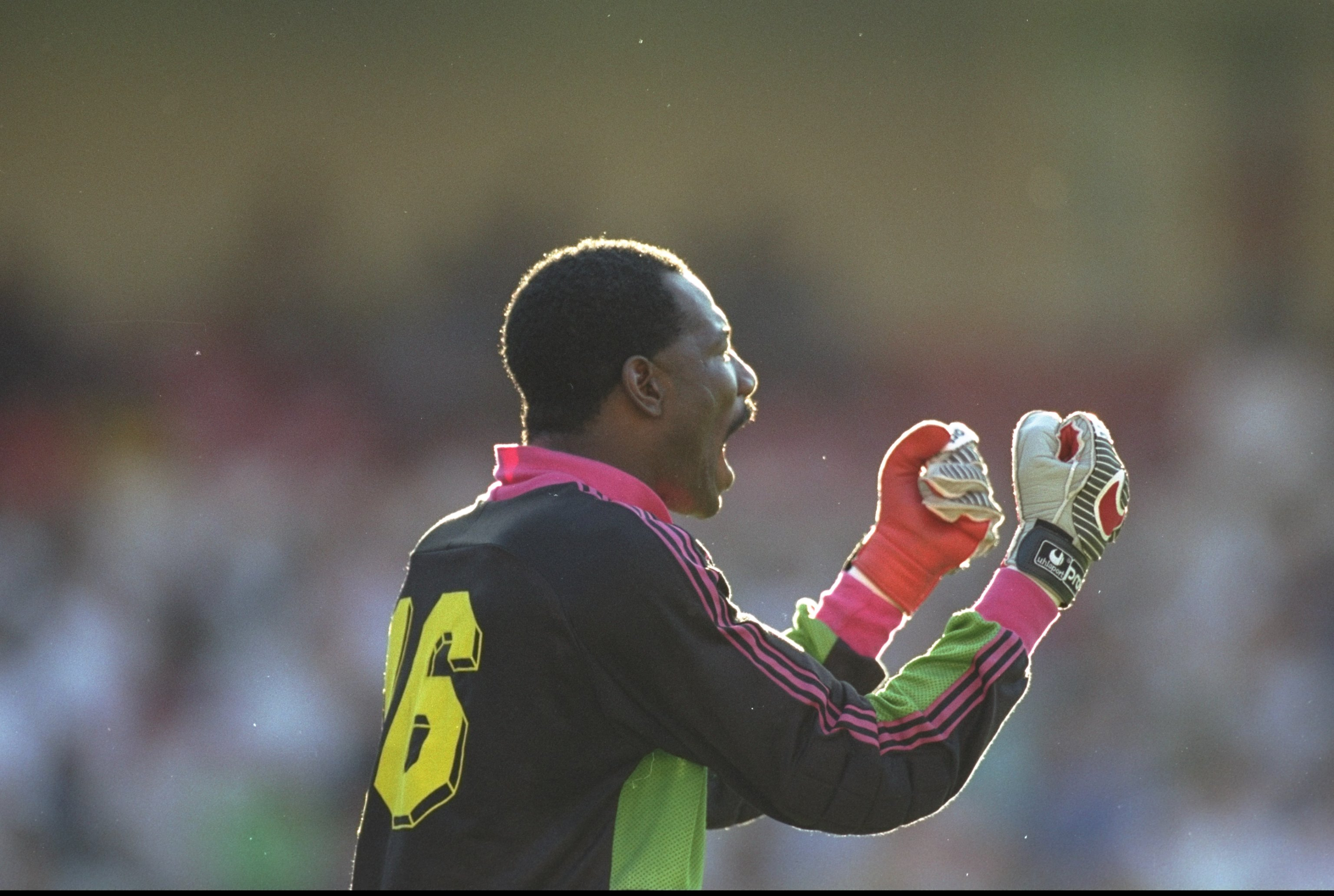 23 Jun 1990: Portrait of Thomas Nkono the Cameroon goalkeeper during the World Cup match against Colombia in Naples, Italy. Cameroon won the match 2-1. Mandatory Credit: David Cannon/Allsport