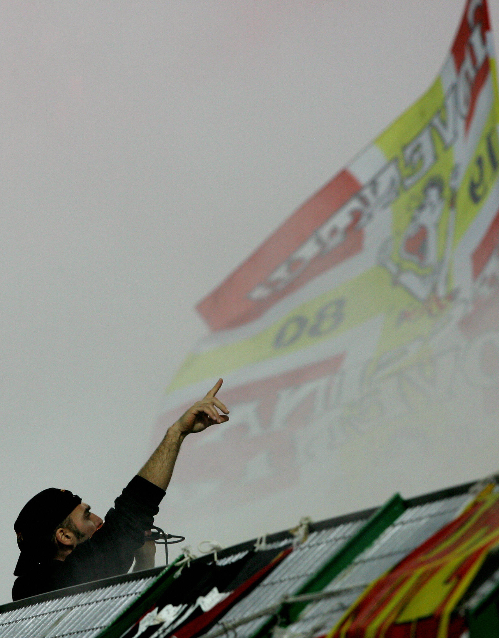 A Messina supporter shouts during the It