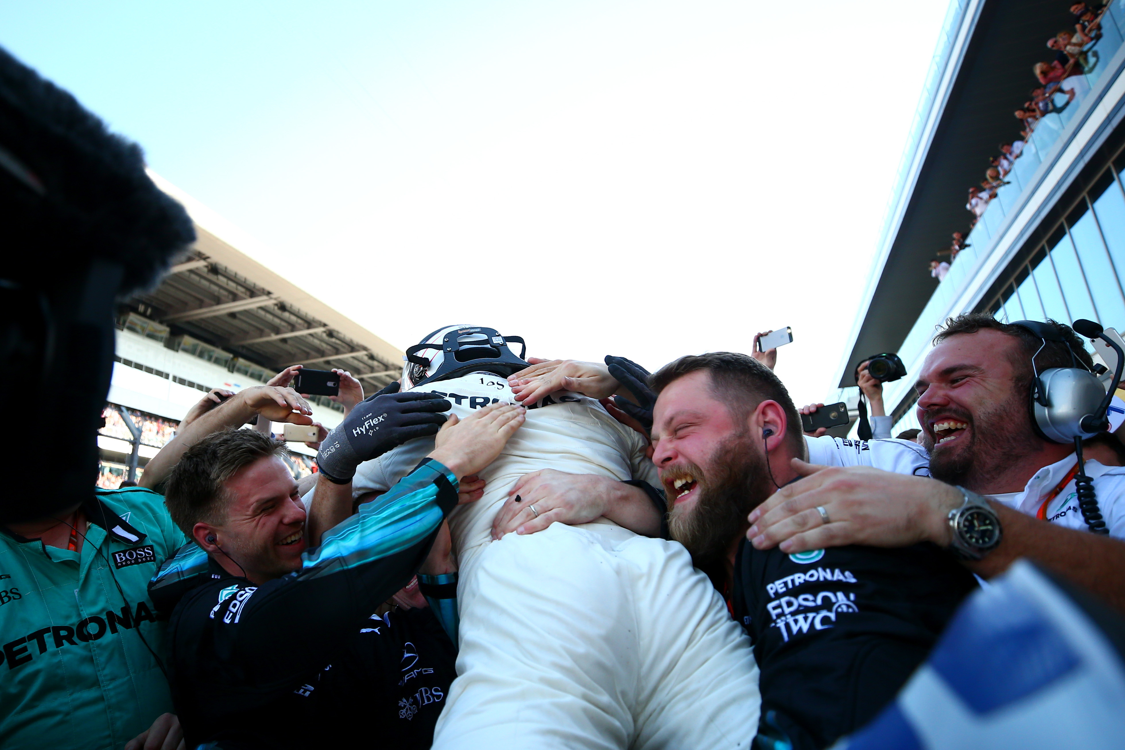SOCHI, RUSSIA - APRIL 30: Race winner Valtteri Bottas of Finland and Mercedes GP celebrates in parc ferme during the Formula One Grand Prix of Russia on April 30, 2017 in Sochi, Russia. (Photo by Dan Istitene/Getty Images)