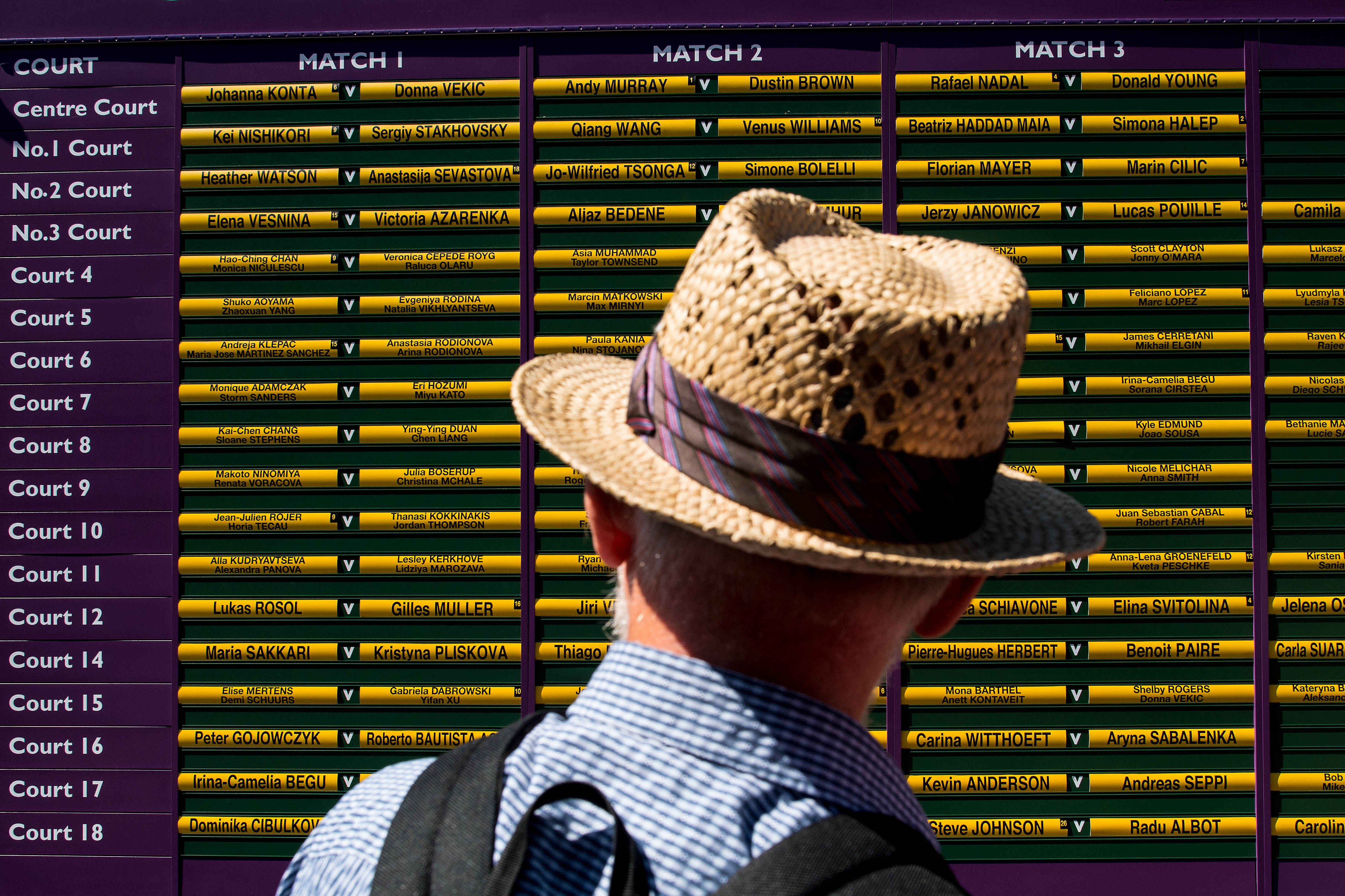 LONDON, ENGLAND - JULY 05: A spectaror looks at the order of play board on day three of the Wimbledon Lawn Tennis Championships at the All England Lawn Tennis and Croquet Clubon July 4, 2017 in London, England. (Photo by David Ramos/Getty Images)