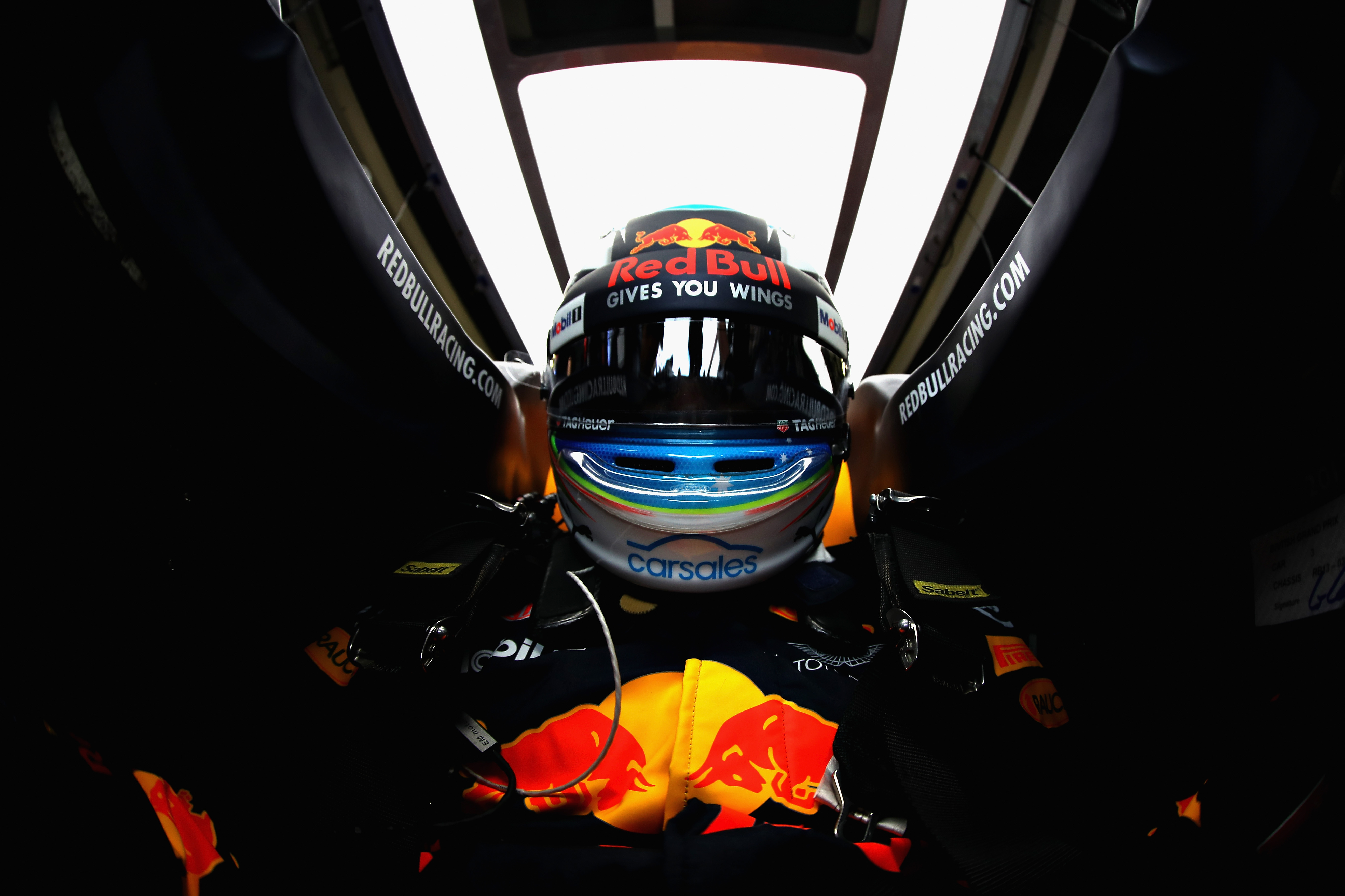NORTHAMPTON, ENGLAND - JULY 14: Daniel Ricciardo of Australia and Red Bull Racing prepares to drive during practice for the Formula One Grand Prix of Great Britain at Silverstone on July 14, 2017 in Northampton, England. Photo shot by Daniel Ricciardo from inside his car (Photo by Mark Thompson/Getty Images)