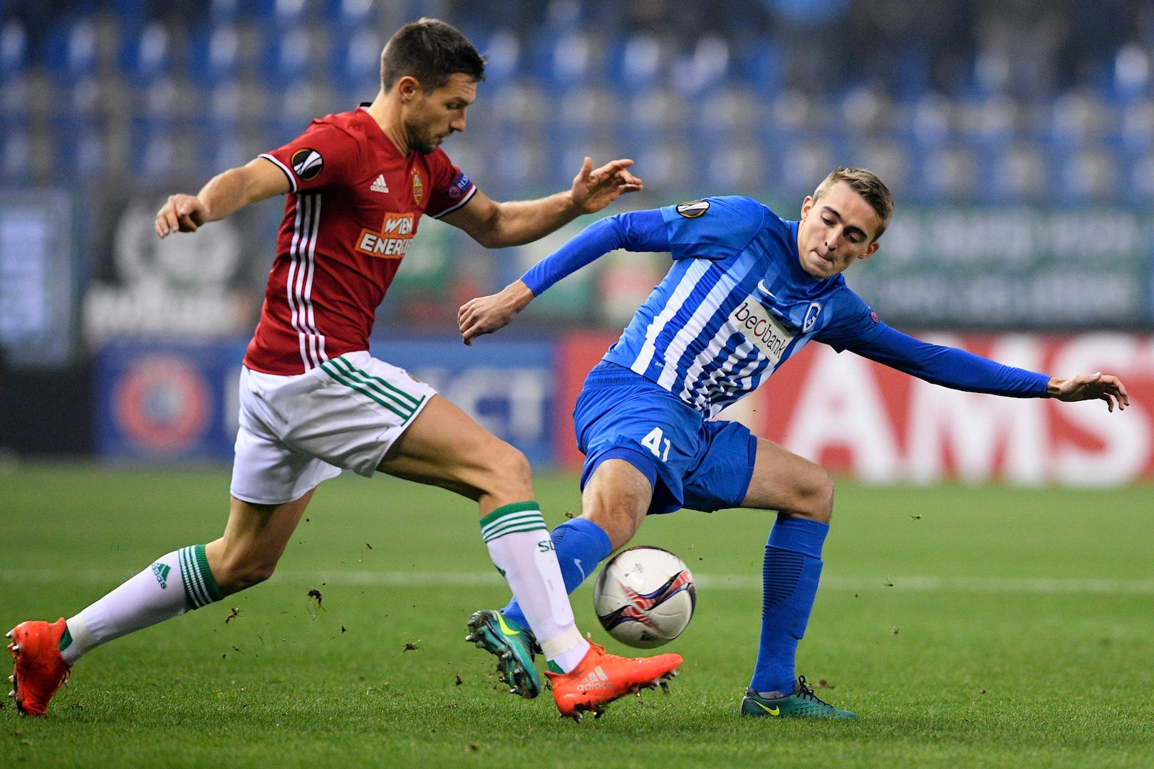 Rapid Wien's Austrian defender Thomas Schrammel (L) vies with Genk's Belgian defender Timothy Castagne during the UEFA Europa League football match between KRC Genk and Rapid Wien, on November 24, 2016, in Genk. / AFP / BELGA / YORICK JANSENS / Belgium OUT (Photo credit should read YORICK JANSENS/AFP/Getty Images)