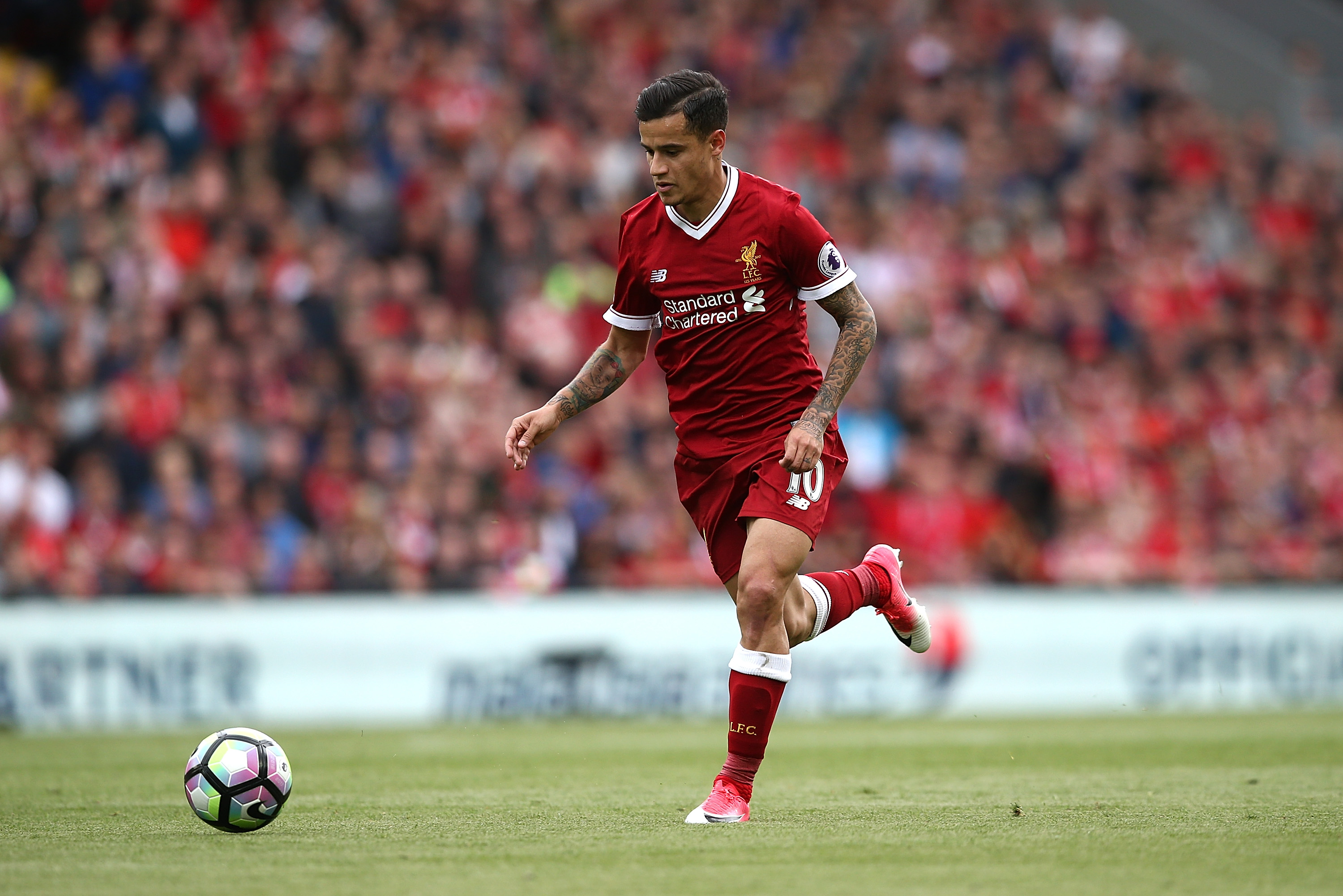 LIVERPOOL, ENGLAND - MAY 21:  Philippe Coutinho of Liverpool during the Premier League match between Liverpool and Middlesbrough at Anfield on May 21, 2017 in Liverpool, England.  (Photo by Jan Kruger/Getty Images)