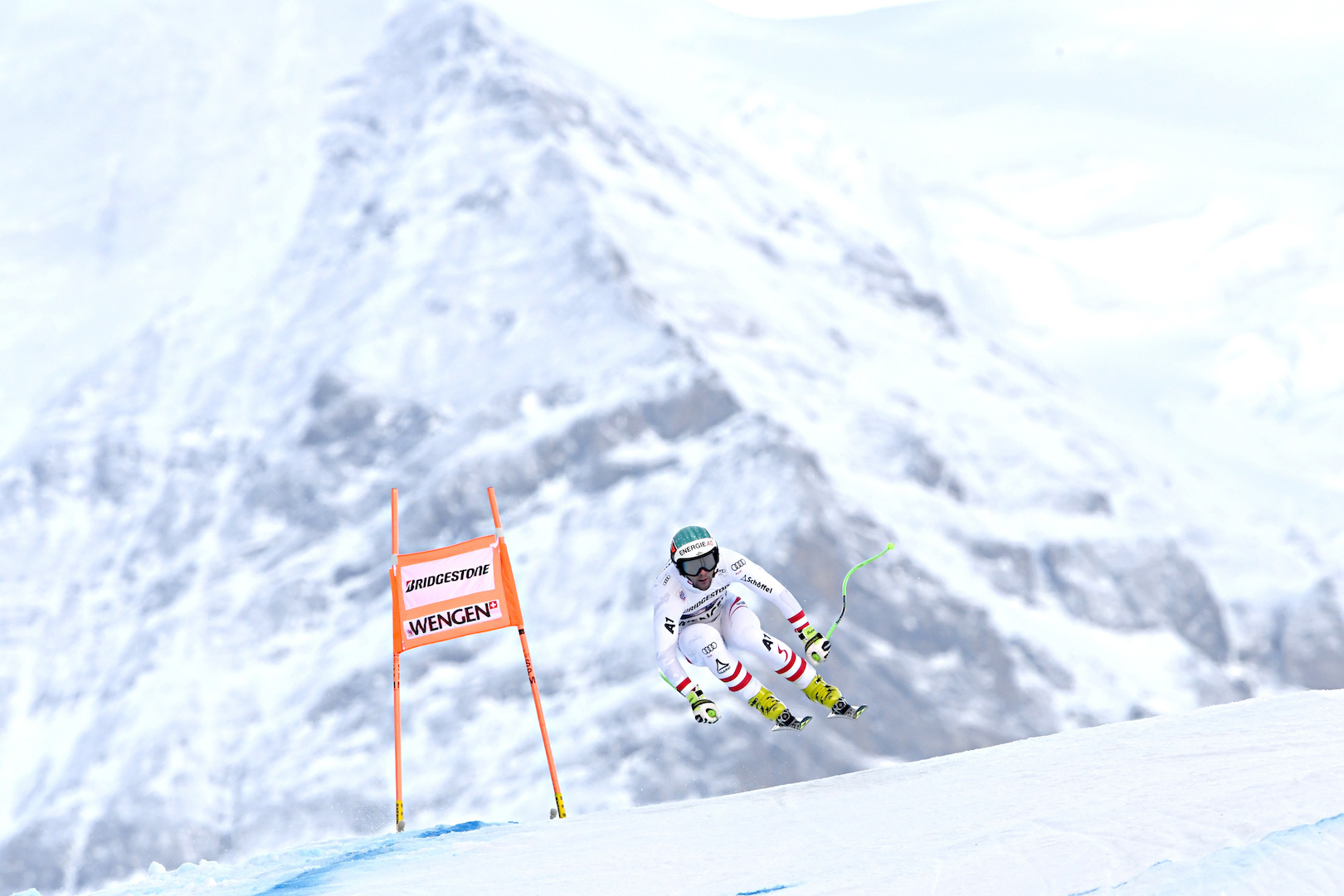 WENGEN, SWITZERLAND - JANUARY 12: Vincent Kriechmayr of Austria in action during the Audi FIS Alpine Ski World Cup Men's Combined on January 12, 2018 in Wengen, Switzerland. (Photo by Alain Grosclaude/Agence Zoom/Getty Images)