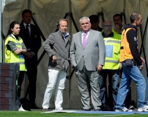 Con Andrea della Valle, ai tempi della Fiorentina. Claudio Villa/Getty Images