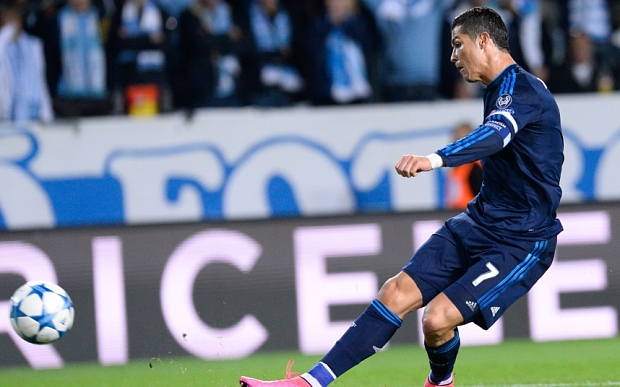 Real Madrid's Portuguese forward Cristiano Ronaldo shoots to score during the UEFA Champions League first-leg Group A football match between Malmo FF and Real Madrid CF at the Swedbank Stadion, in Malmo, Sweden on September 30, 2015. AFP PHOTO / JONATHAN NACKSTRANDJONATHAN NACKSTRAND/AFP/Getty Images