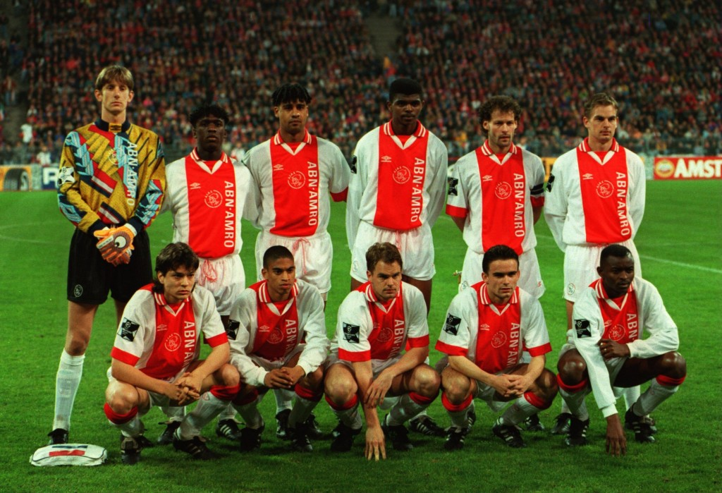 5 APR 1995: THE AJAX AMSTERDAM TEAM POSE BEFORE THE START OF THE EUROPEAN CUP SEMI-FINAL MATCH BETWEEN BAYERN MUNICH AND AJAX PLAYED AT THE OLYMPIASTADION IN MUNICH. Mandatory Credit: Clive Brunskill/ALLSPORT