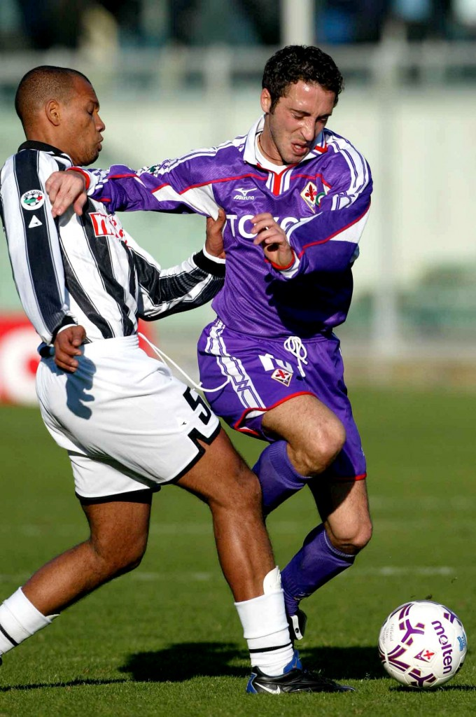 10 Mar 2002: Domenico Morfeo of Fiorentina and Marcos Paulo of Udinese in action during the Serie A 26th Round League match between Fiorentina and Udinese , played at the Artemio Franchi Stadium in Florence, Italy. DIGITAL IMAGE. Mandatory Credit: Allsport UK/Getty Images