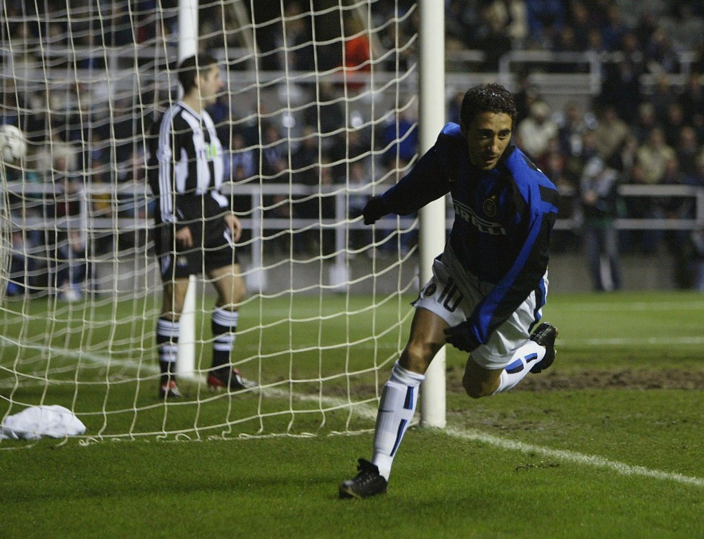 Il suo primo gol in Champions, Newcastle 2002 (Alex Livesey/Getty Images).