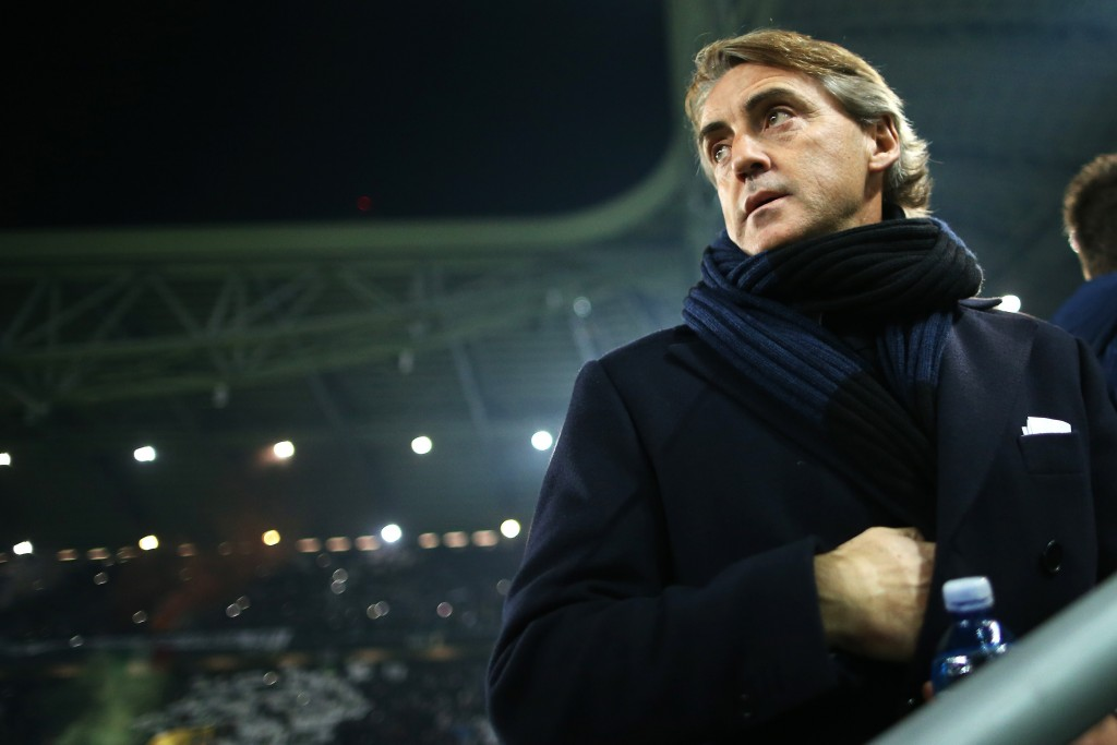 Inter Milan's coach Roberto Mancini looks on during the Italian Serie A football match Juventus Vs Inter Milan on January 6, 2015 at Juventus Stadium in Turin. AFP PHOTO / MARCO BERTORELLO (Photo credit should read MARCO BERTORELLO/AFP/Getty Images)