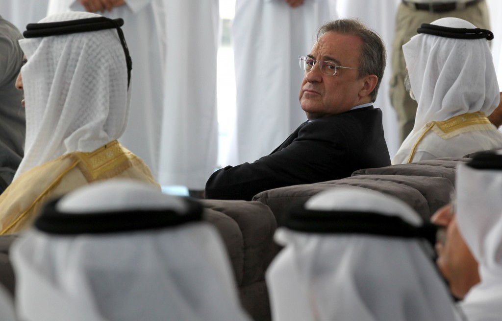 "Real Madrid president Florentino Perez attends a conference to unveil a one-billion-dollar Real Madrid Resort theme park on a man-made island in Ras al-Khaimah in the United Arab Emirates on March 29, 2012. Executives unveiled plans for the ""Real Madrid Resort Island"", featuring an oceanside stadium and hi-tech club museum in the Gulf emirate, on the doorstep of the lucrative football-mad Asian market. AFP PHOTO/KARIM SAHIB (Photo credit should read KARIM SAHIB/AFP/Getty Images)"