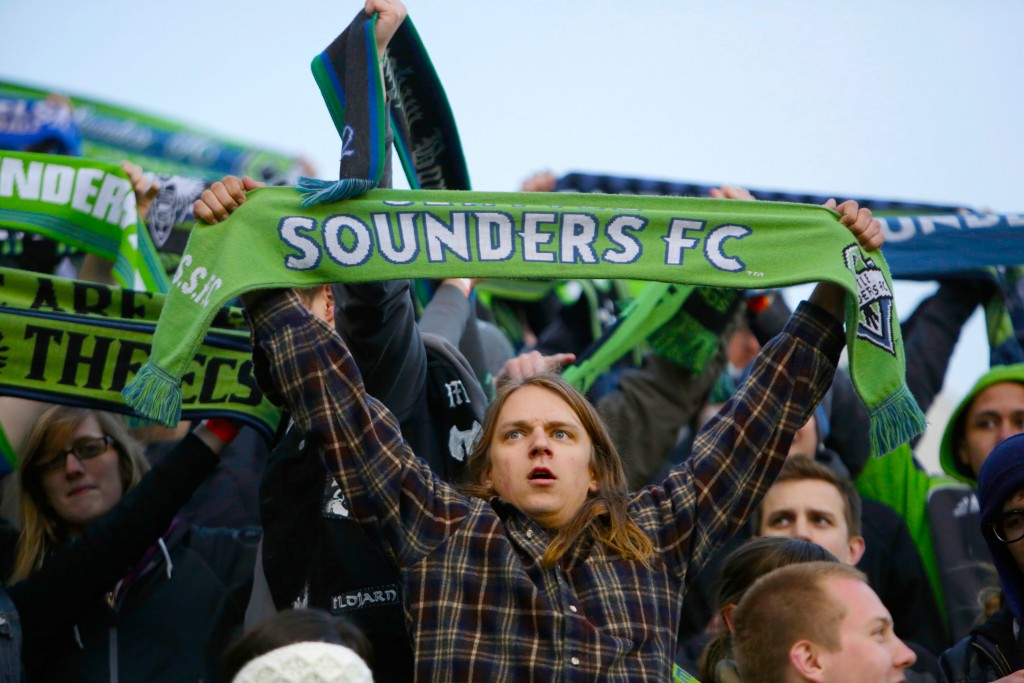 BRIDGEVIEW, IL - APRIL 28:  Seattle Sounders FC fans while playing the Chicago Fire in the first half of their MLS match at Toyota Park on April 28, 2012 in Bridgeview, Illinois. (Photo by John Gress/Getty Images)