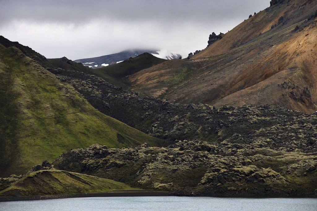 A picture taken on July 8, 2014 shows the rhyolite mountains in the Landmannalaugar region, a protected area in the southern part of Iceland's highlands some 70km east of Hvolsvollur. AFP PHOTO / JOEL SAGET