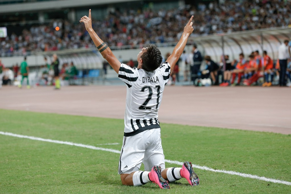Paulo Dybala esulta dopo la rete in Supercoppa italiana (Photo by Lintao Zhang/Getty Images)