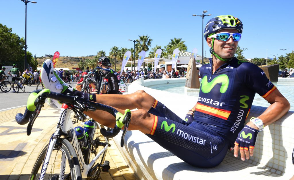 Movistar's Spanish cyclist Alejandro Valverde sits beside a fountain with his legs propped on his bike before the fourth stage of the 2015 Vuelta Espana cycling tour, a 213,6 Km stage between Estepona and Vejer de la Frontera on,August 25,2015. AFP PHOTO/JOSE JORDAN (Photo credit should read JOSE JORDAN/AFP/Getty Images)