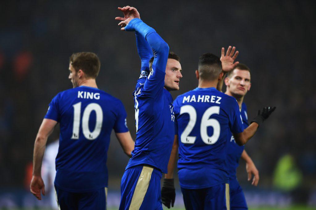 Jamie Vardy festeggia il gol contro il Chelsea, l'ultima partita di Mourinho (Laurence Griffiths/Getty Images)