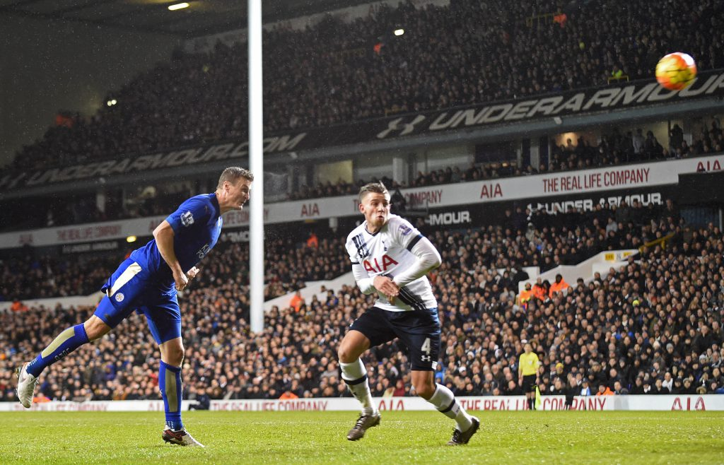 Il gol di Huth contro il Tottenham (Olly Grenwood/Afp/Getty Images)