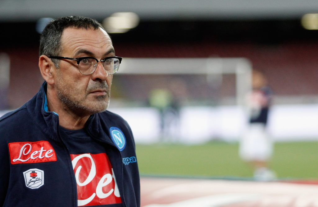 NAPLES, ITALY - APRIL 19: Head coach of Napoli Maurizio Sarri looks on during the Serie A match between SSC Napoli and Bologna FC at Stadio San Paolo on April 19, 2016 in Naples, Italy. (Photo by Maurizio Lagana/Getty Images)
