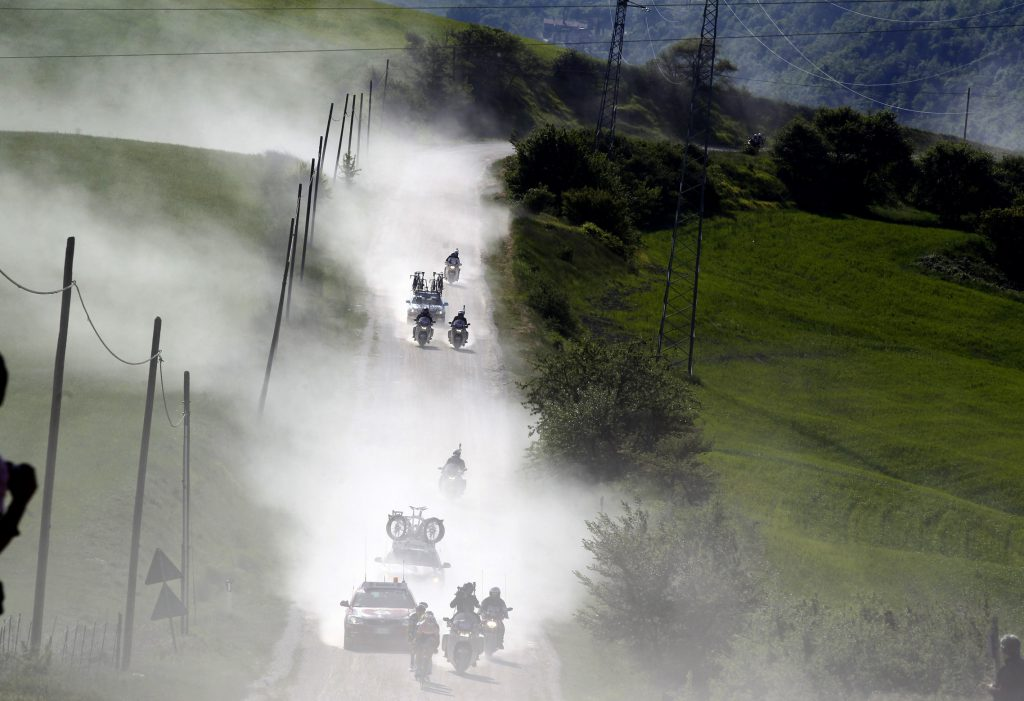 Cyclists during stage 5 of the 94th Giro d'Italia on May 11, 2011 in Livorno. Slagter fell around 15 km from the finish and was given medical attention at the scene before being taken to hospital. AFP PHOTO / POOL / ROBERTO BETTINI (Photo credit should read ROBERTO BETTINI/AFP/Getty Images)
