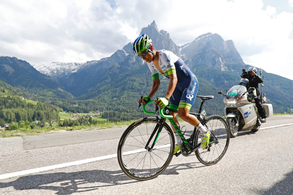Colombian Esteban Chaves of team Orica competes during the 15th stage of the 99th Giro d'Italia, Tour of Italy, an uphill individual time trial between Castelrotto and Alpe di Siusi on May 22, 2016. AFP PHOTO / LUK BENIES / AFP / LUK BENIES (Photo credit should read LUK BENIES/AFP/Getty Images)
