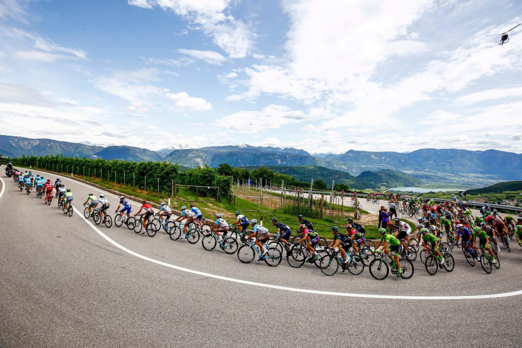 The peloton rides during the 16th stage of the 99th Giro d'Italia, Tour of Italy, from Bressanone / Brixen to Andalo on May 24, 2016. Dutchman Steven Kruijswijk moved closer to a history-making Giro d'Italia triumph Tuesday after stretching his lead over Esteban Chaves and Vincenzo Nibali in a thrilling 16th stage won by Alejandro Valverde. / AFP / LUK BENIES (Photo credit should read LUK BENIES/AFP/Getty Images)