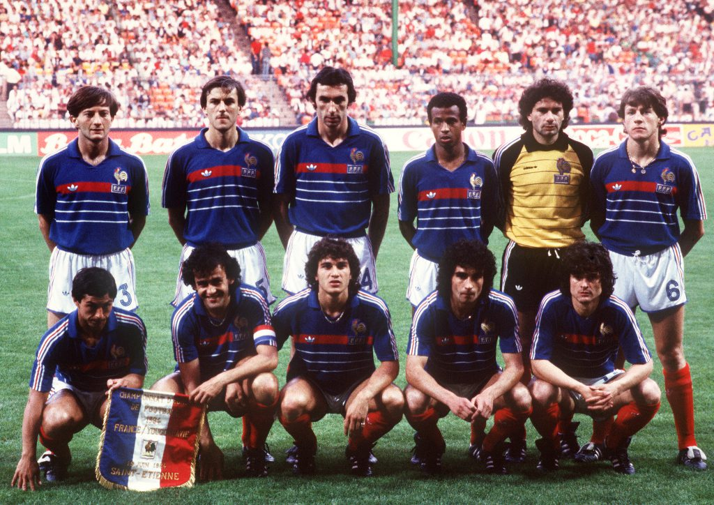 Picture taken 19 June 1984 in Nantes, western France, of the French national soccer team posing before the start of its European Nations soccer championship match against Yougoslavia.(Top, from L: Jean-Fran?ois Domergue, Patrick Battiston, Maxime Bossis, Jean Tigana, Jo?l Bats, Luis Fernandez; bottom, from L : Alain Giresse, captain Michel Platini, Jean-Marc Ferreri, Dominique Rocheteau, Didier Six) (Photo credit should read PATRICK HERTZOG/AFP/Getty Images)