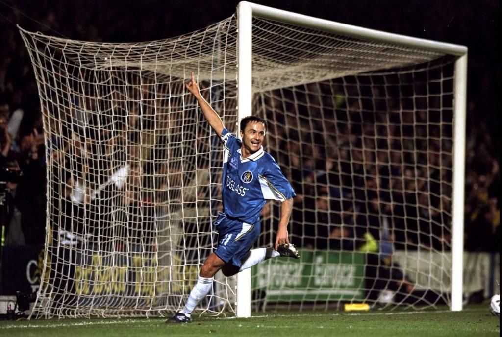 4 Mar 1999: Chelsea captain Dennis Wise celebrates after scoring against Valerenga in the European Cup Winners Cup quarter-final first leg match at Stamford Bridge in London. Chelsea won 3-0. Mandatory Credit: Ross Kinnaird /Allsport