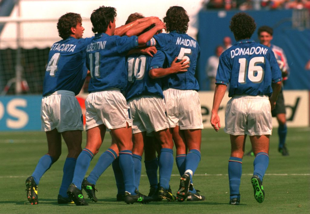 13 Jul 1994: ROBERTO BAGGIO #10 CELEBRATES WITH HIS TEAM MATES AFTER SCORING THE FIRST OF HIS GOALS AGAINST BULGARIA DURING THEIR 1994 WORLD CUP SEMI-FINAL MATCH AT GIANTS STADIUM IN EAST RUTHERFORD, NEW JERSEY.