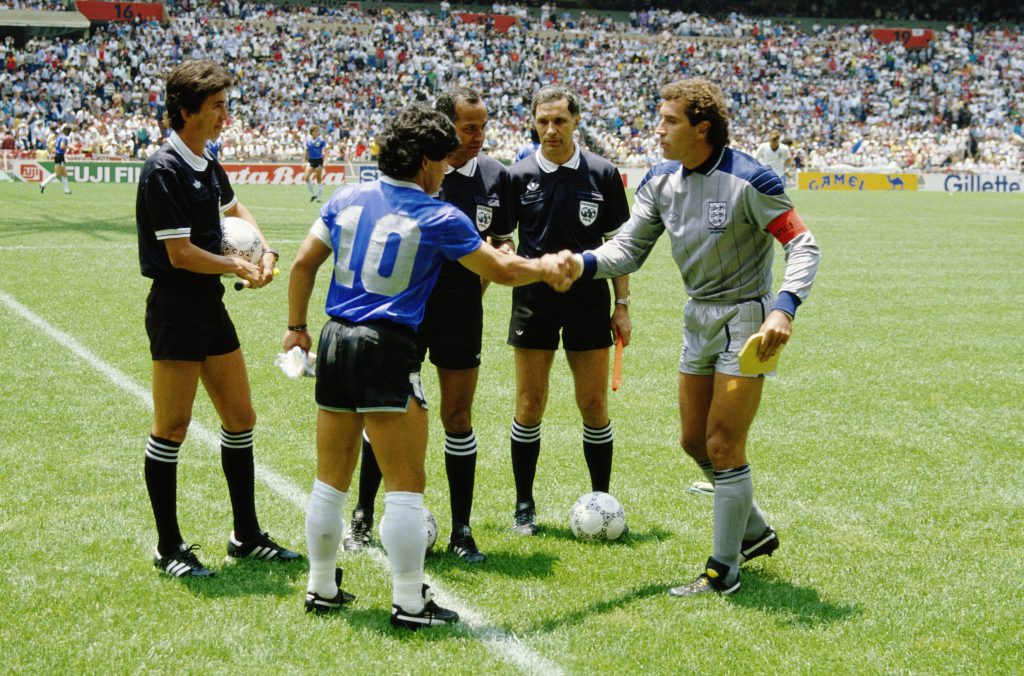 Diego Maradona of Argentina #10 shakes hands with Peter Shilton of England before the 1986 FIFA World Cup Quarter Final on 22 June 1986 at the Azteca Stadium in Mexico City, Mexico. Argentina defeated England 2-1 in the infamous Hand of God game. (Photo by David Cannon/Getty Images)