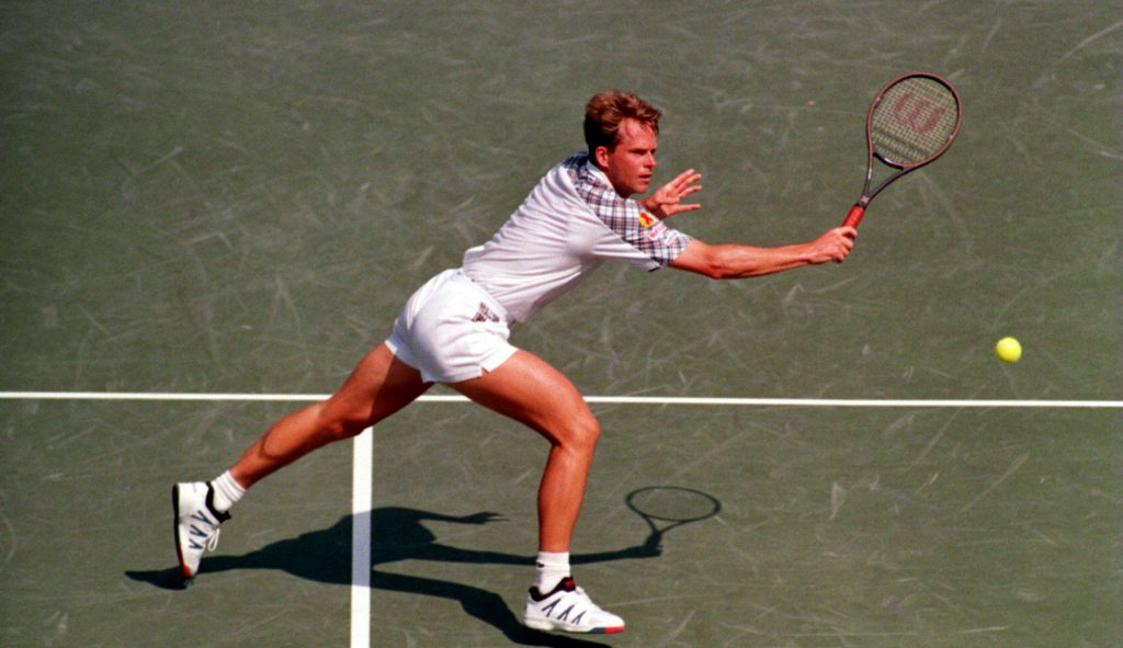 12 MARCH 1994: SWEDENS STEFAN EDBERG IN ACTION DURING HIS SECOND ROUND MATCH AGAINST US ROBBIE WEISS IN THE LIPTON TENNIS CHAMPIONSHIPS AT KEY BISCAYNE IN FLORIDA. Mandatory Credit: Simon Bruty/ALLSPORT