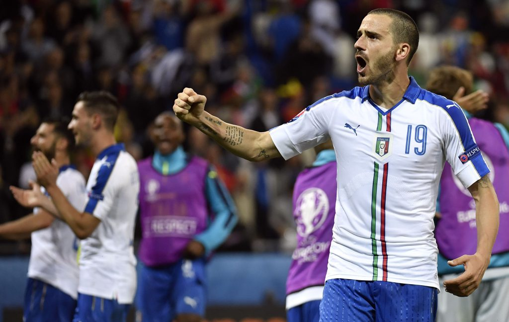 Italy's defender Leonardo Bonucci celebrates his team's 2-0 victory following the Euro 2016 group E football match between Belgium and Italy at the Parc Olympique Lyonnais stadium in Lyon on June 13, 2016. / AFP / jeff pachoud (Photo credit should read JEFF PACHOUD/AFP/Getty Images)