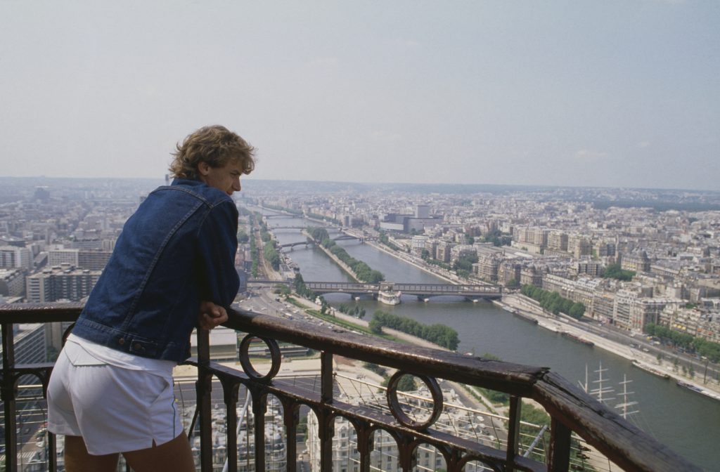 Mats Wilander of Sweden the poses for a portrait at the Eiffel Tower after winning the Men's Singles Final match at the French Open Tennis Championship on 7 June 1982 at the Stade Roland Garros Stadium in Paris, France. (Photo by Steve Powell/Getty Images)