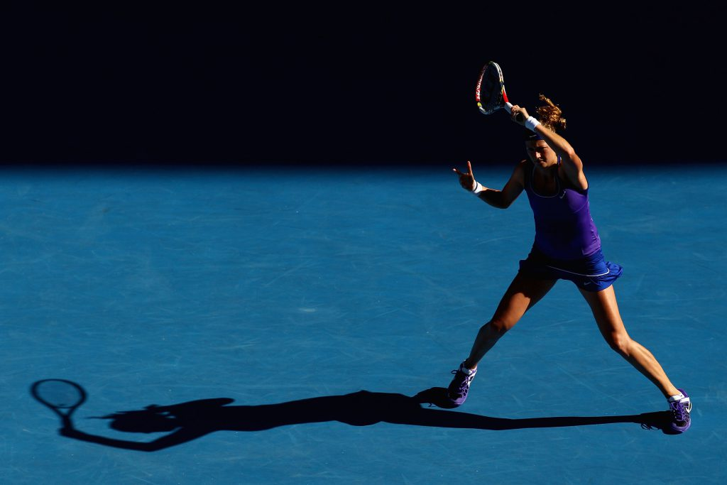 MELBOURNE, AUSTRALIA - JANUARY 26: Petra Kvitova of the Czech Republic plays a forehand in her semifinal match against Maria Sharapova of Russia during day eleven of the 2012 Australian Open at Melbourne Park on January 26, 2012 in Melbourne, Australia. (Photo by Ryan Pierse/Getty Images)