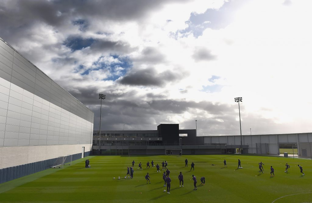 MANCHESTER, ENGLAND - FEBRUARY 23: A general view during a Manchester City training session ahead of the UEFA Champions League round of 16 first leg match against Barcelona at Etihad Campus on February 23, 2015 in Manchester, England. (Photo by Laurence Griffiths/Getty Images)