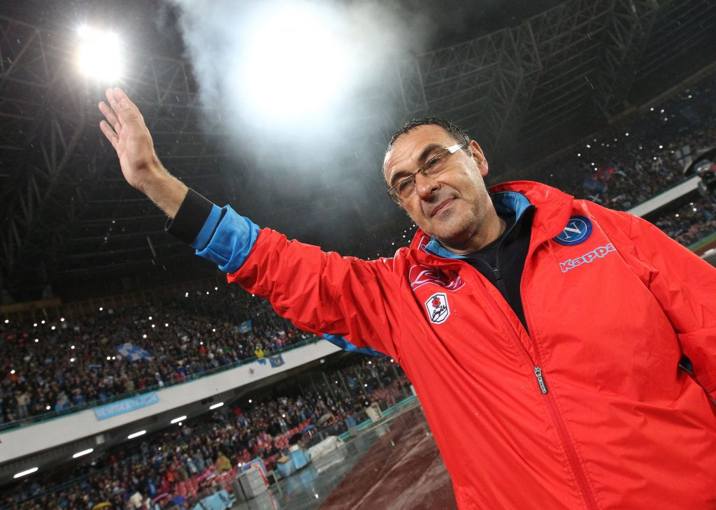 Napoli's Italian coach Maurizio Sarri greets fans at the end of the Italian Serie A football match SSC Napoli vs Frosinone Calcio on May 14 2016 at the San Paolo stadium in Naples. Napoli won the match 4-0. / AFP / CARLO HERMANN (Photo credit should read CARLO HERMANN/AFP/Getty Images)