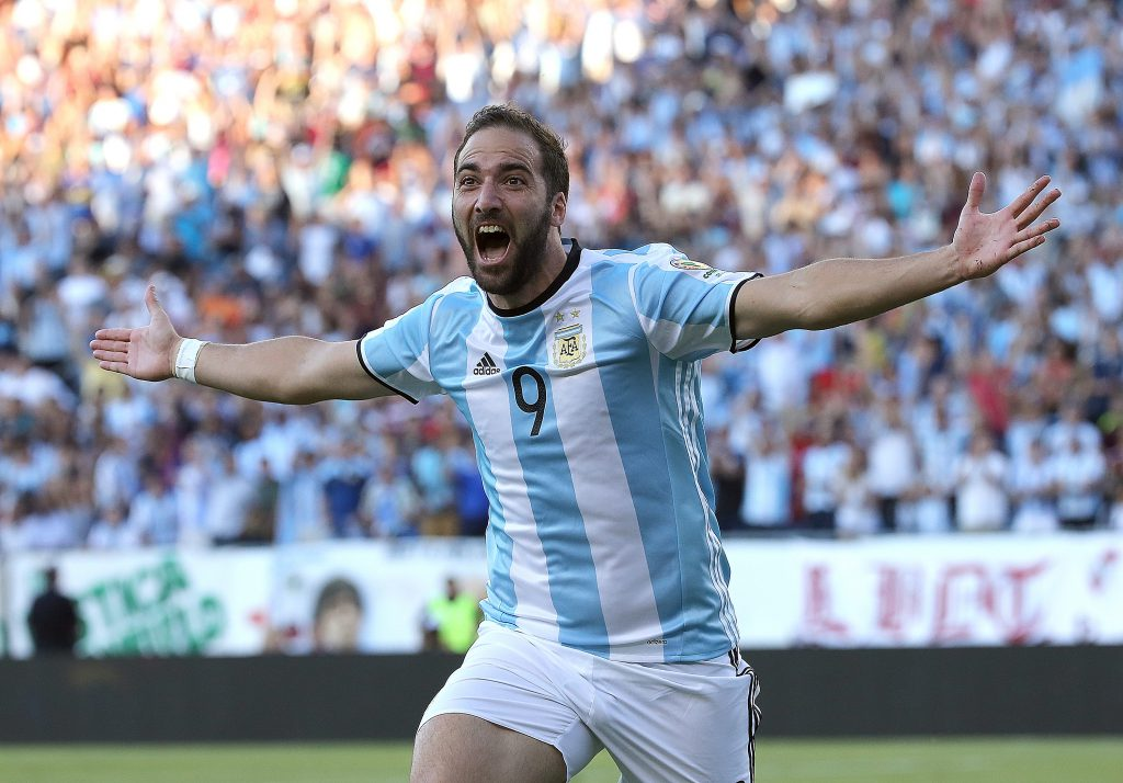 FOXBORO, MA - JUNE 18: Gonzalo Higuain #9 of Argentina celebrates his goal during the 2016 Copa America Centenario quarterfinal match against Venezuela at Gillette Stadium on June 18, 2016 in Foxboro, Massachusetts. (Photo by Jim Rogash/Getty Images)