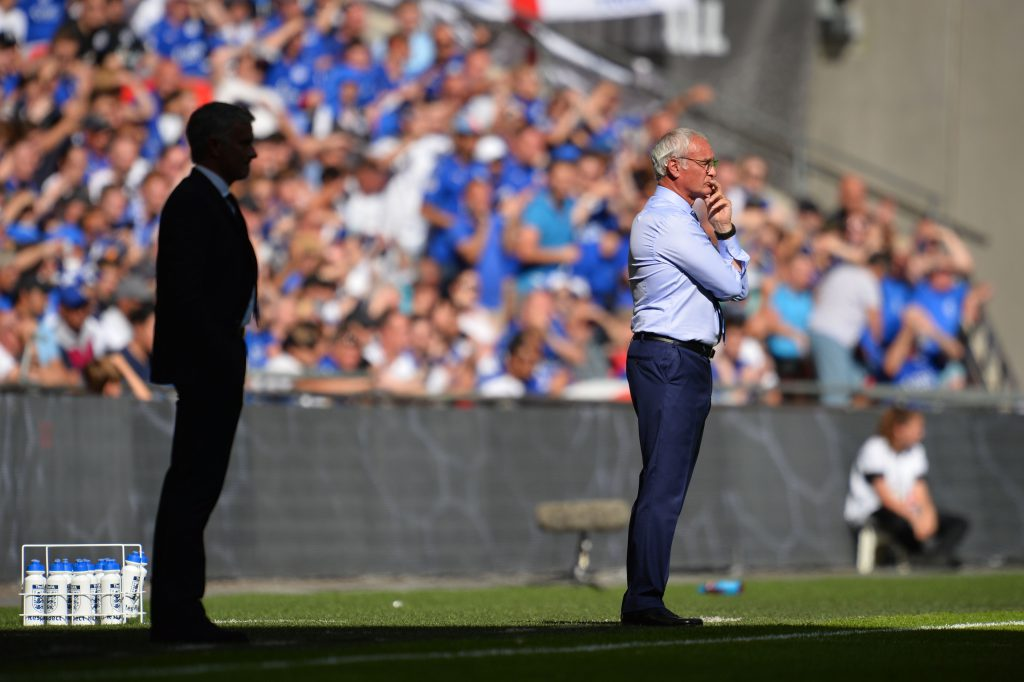 Leicester City's Italian manager Claudio Ranieri (R) watches from the touchline with Manchester United's Portuguese manager Jose Mourinho (L) during the FA Community Shield football match between Manchester United and Leicester City at Wembley Stadium in London on August 7, 2016. / AFP / GLYN KIRK / NOT FOR MARKETING OR ADVERTISING USE / RESTRICTED TO EDITORIAL USE (Photo credit should read GLYN KIRK/AFP/Getty Images)