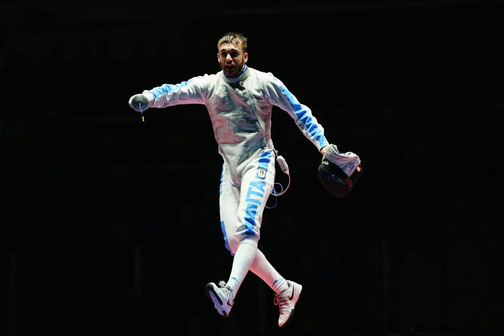 RIO DE JANEIRO, BRAZIL - AUGUST 07: Daniele Garozzo of Italy celebrates victory over Alexander Massialas of the United States during Men's Individual Foil Final on Day 2 of the Rio 2016 Olympic Games at Carioca Arena 3 on August 7, 2016 in Rio de Janeiro, Brazil. (Photo by Alex Livesey/Getty Images)